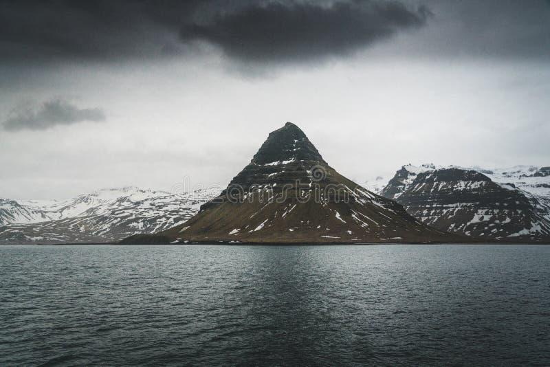 Kirkufell Mountain Church Mountain in English overlooking Grundarfjordur Bay on the Snaefellsnes Peninsula in western royalty free stock photo