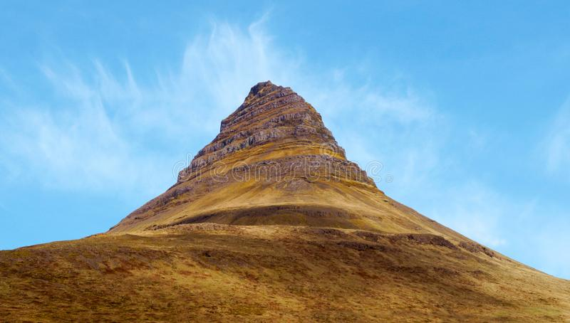 Kirkufell Mountain or Church Mountain on the Snaefellsnes Peninsula in Iceland royalty free stock image