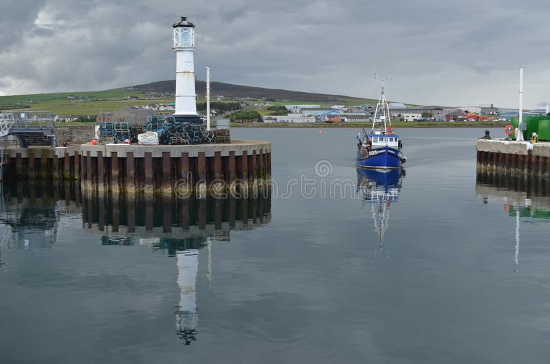 Harbour and inshore fishing fleet in Kirkwall, Mainland island, Orkney Scotland. Kirkwall is the largest settlement and capital of Orkney, an archipelago in the stock photography