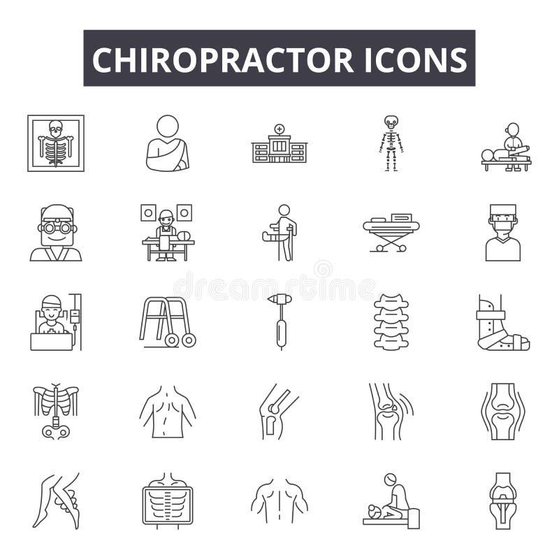 Kiropraktorlinje symboler för rengöringsduk och mobil design Redigerbart slaglängdtecken Illustrationer för kiropraktoröversiktsb royaltyfri illustrationer