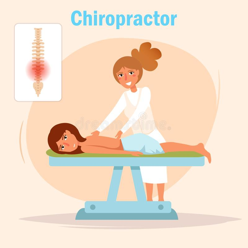 Kiropraktormassagevektor stock illustrationer
