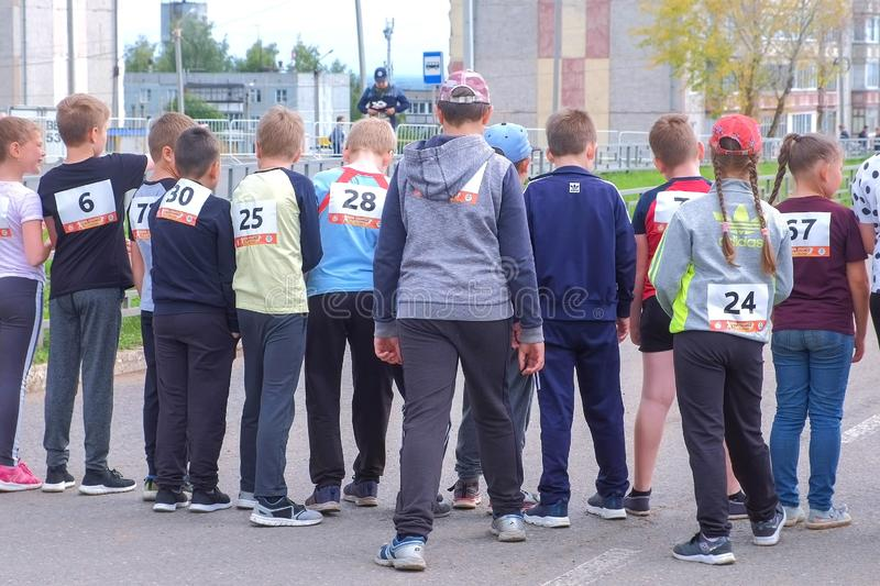 Kirov, Russia, 17-08-2019: Children`s running competitions in the city. stock photography