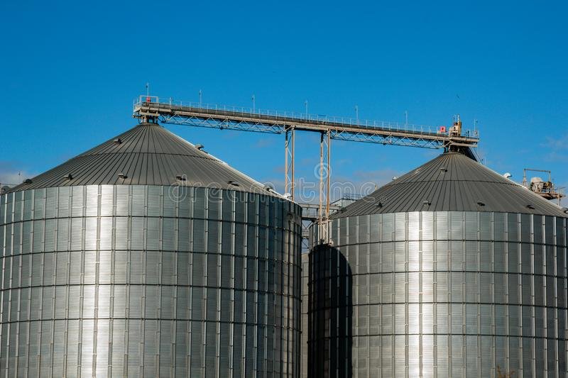 Kirovograd, Ukraine - 30.09.2019 Agro-processing and production plant for processing silos for drying, cleaning and storage of. Agricultural products, flour stock photos