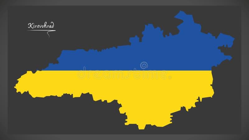 Kirovohrad map of Ukraine with Ukrainian national flag illustration. Kirovohrad map of Ukraine with Ukrainian national flag stock illustration
