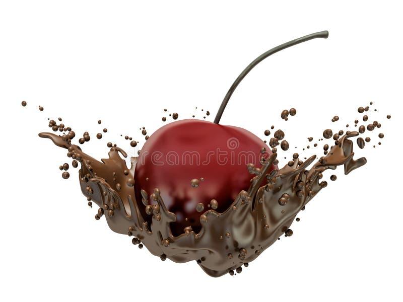 Kirsch- und Schokoladenspritzen lizenzfreie abbildung