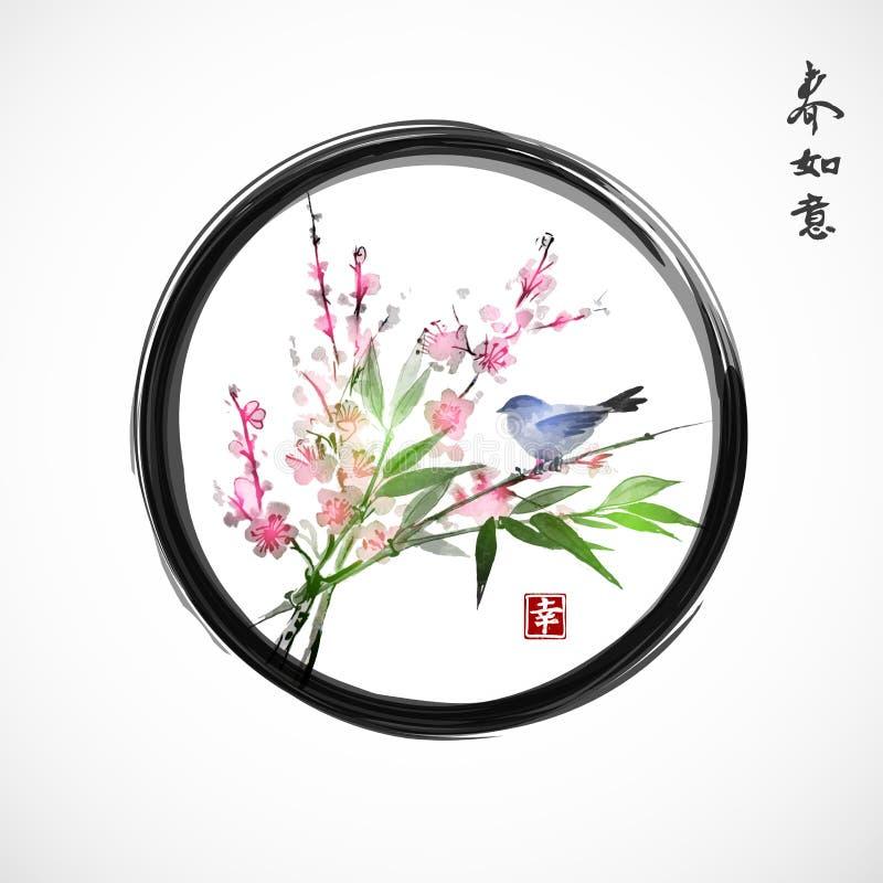 Kirschblüte in der Blüten-, Bambusniederlassung und im blauen Vogel lizenzfreie abbildung