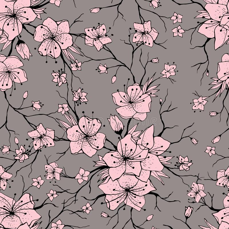 Kirschblüte verzweigt sich nahtloses Muster lizenzfreie abbildung
