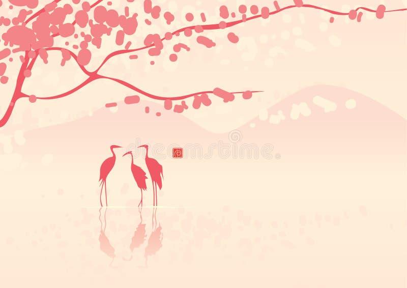 Kirschblüten und -reiher lizenzfreie abbildung