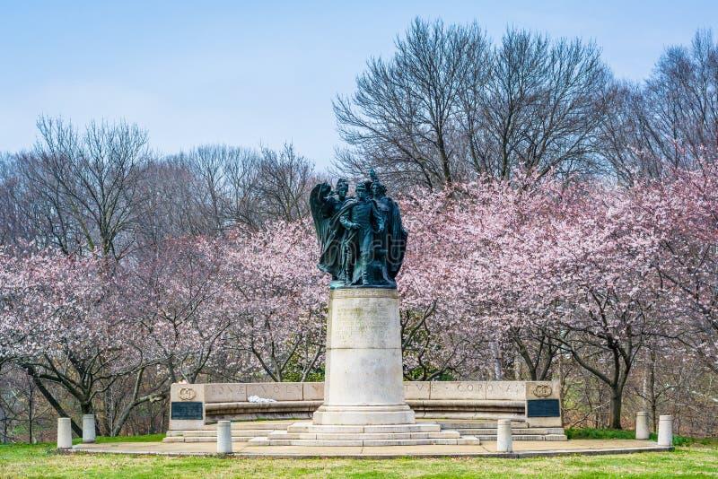 Kirschblüten und -statue an Wyman-Park, in Charles Village, Baltimore, Maryland lizenzfreie stockfotografie