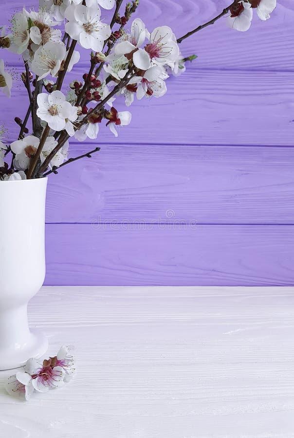Kirschblütenniederlassung in einem Vase auf einem farbigen hölzernen Hintergrund, Frühling, stockfotos