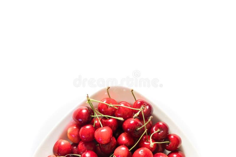 Kirsche in der weißen Platte stockfotos