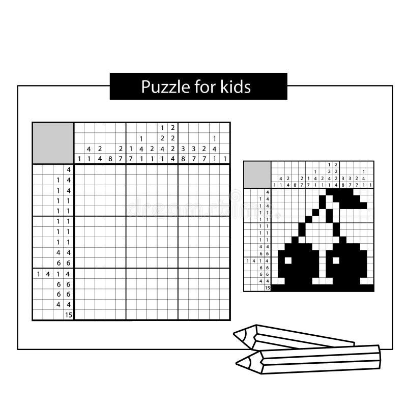 Kirsche Japanisches Schwarzweiss-Kreuzworträtsel mit Antwort Nonogram stock abbildung