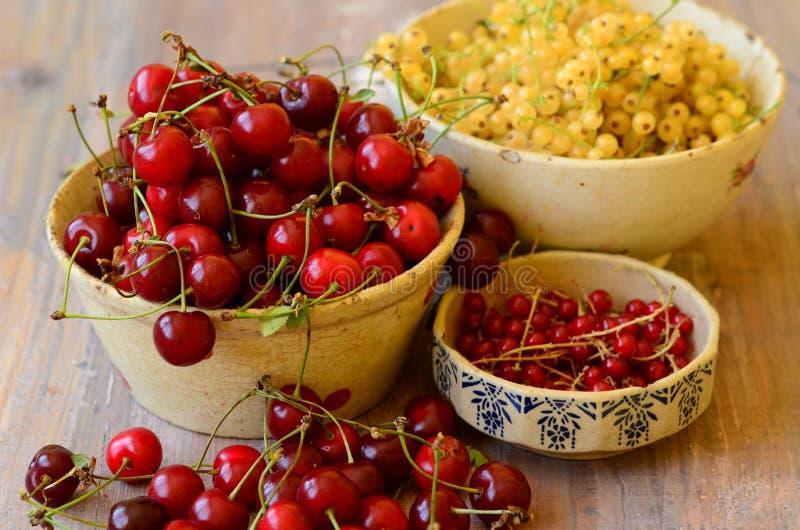 Kirschen, Korinthen in den Weinleseschüsseln lizenzfreie stockfotos