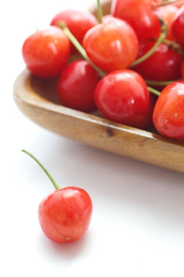Kirschfrüchte mit Blättern stockfoto