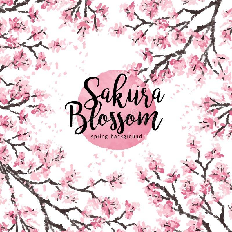 Kirschniederlassung Kirschblütes Japan mit dem Blühen blüht Vektorillustration Hand gezeichnete Art stock abbildung