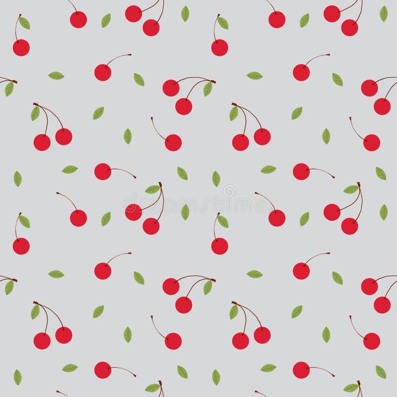 Kirschträgt nahtloser Mustervektor Früchte lizenzfreie abbildung