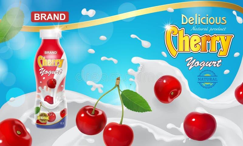 Kirschtrinkende Jogurtwerbung Rote Beeren, die in sahnige Jogurtflüssigkeits-Spritzenillustration schwimmen vektor abbildung