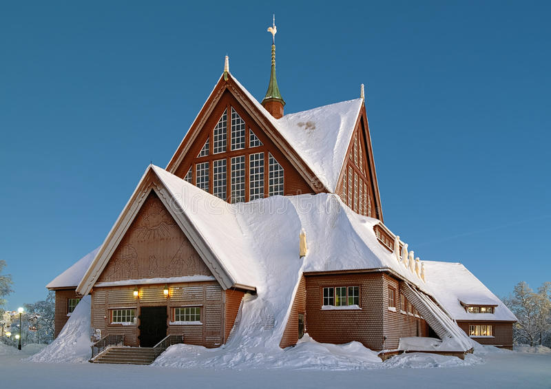 Kiruna kyrka i vinter, Sverige royaltyfri bild