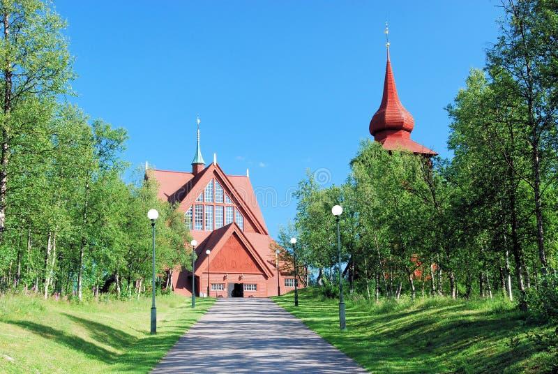 Kiruna Kyrka large wooden Sami church Lapland. Kiruna Kyrka – Church in summer – One of Swedens largest wooden buildings Church exterior is built stock photography