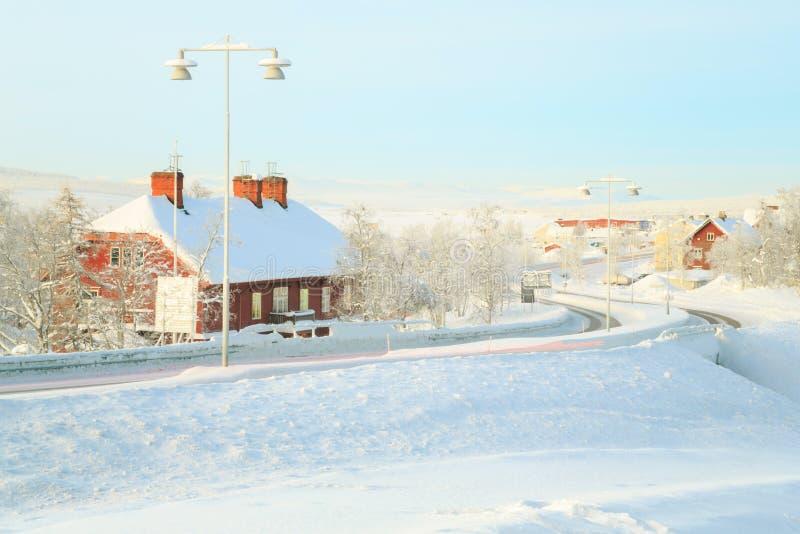 Kiruna pejzaż miejski dworzec zdjęcia royalty free