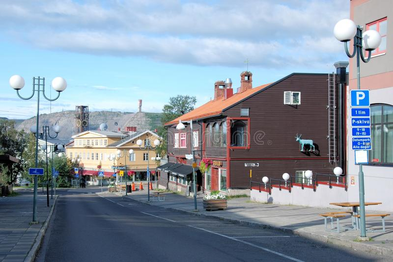Kiruna Sweden Street view background iron mine. Kiruna, Sweden, Lapland, in summer city with houses and town hall clock tower in the background, and the worlds stock photos