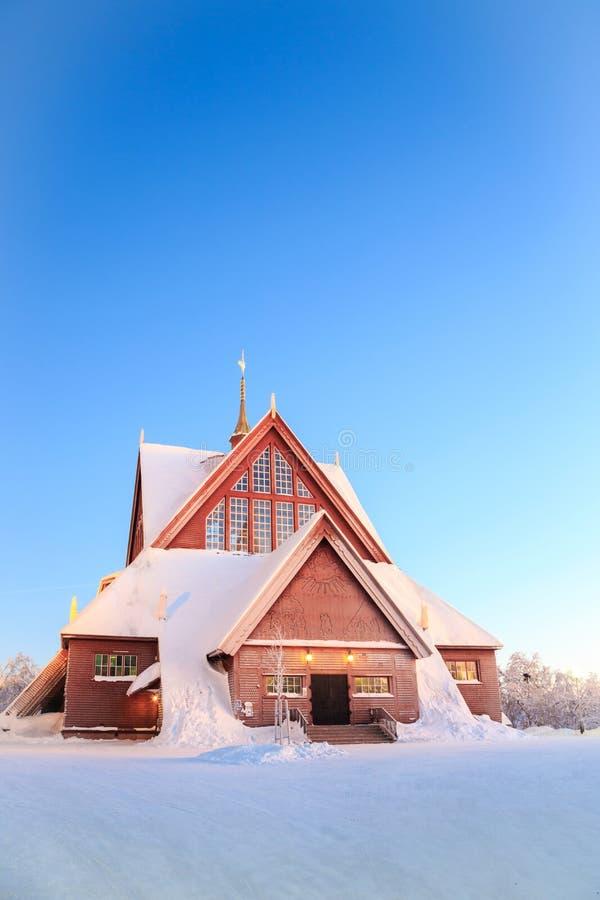 Kirunakathedraal Zweden stock foto's