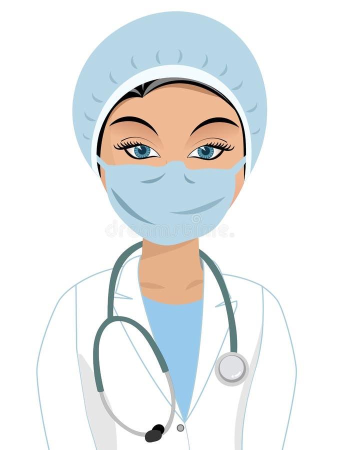 kirurg för framsidakvinnligmaskering vektor illustrationer