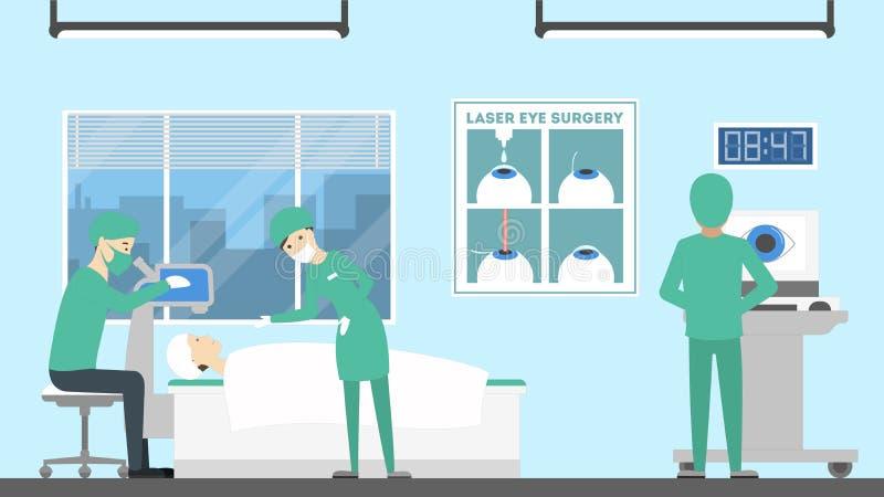 Kirurgi för danandelaser-öga stock illustrationer