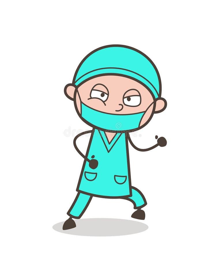 KirurgRunning Pose Vector för tecknad film vuxen illustration vektor illustrationer