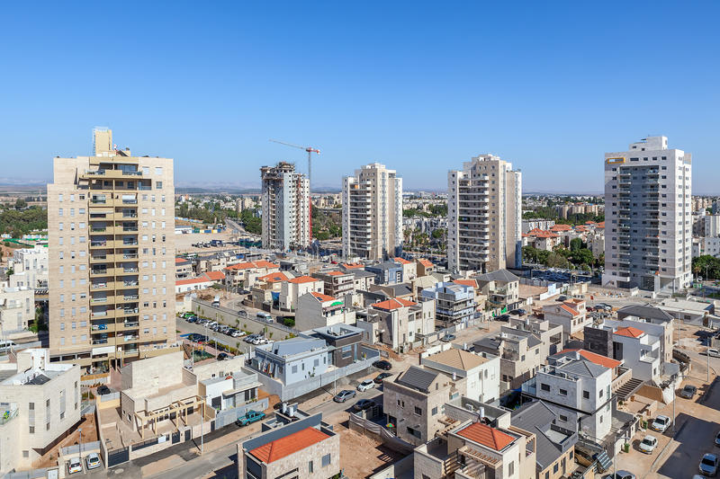 Kiryat Gat skyline view. Modern private houses and contemporary multistorey residential buildings in the new neighborhood of Kiryat Gat - city in southern royalty free stock image