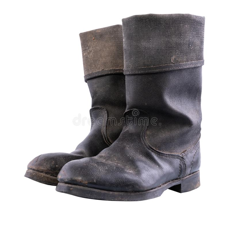 Kirza boots isolated on white background, retro boots, used in Soviet Union for soldiers in the army and for work, made stock photos