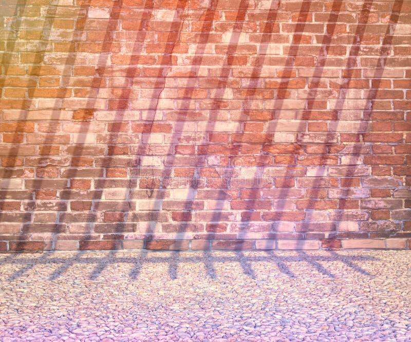Kiselstenar och gammal tegelstenvägg tolkning 3D eller illustration av bakgrund vektor illustrationer