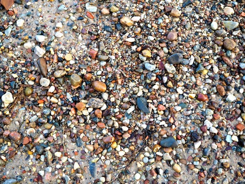 Kiselstenar och små stenar på kusten av det baltiska havet royaltyfria foton