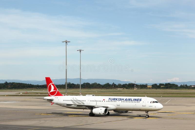 Kish airlines aircraft at Saint Exupery airport in Lyon, France. Lyon, France - June 23, 2019: Turkish airlines aircraft at Saint Exupery airport in Lyon stock image