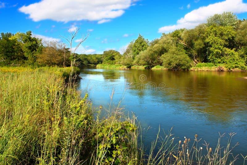 Kishwaukee flod i nordliga Illinois fotografering för bildbyråer
