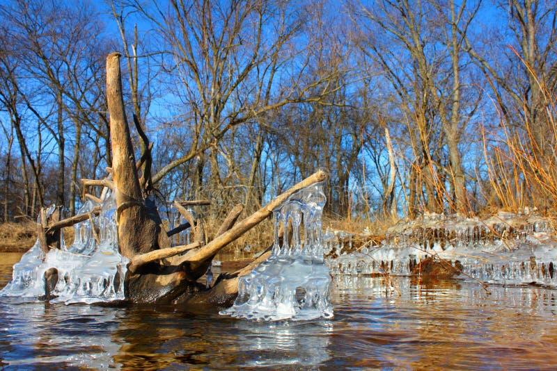 Kishwaukee-Fluss-Winter Illinois lizenzfreie stockbilder