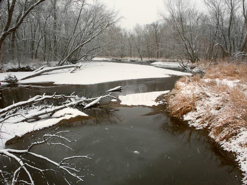 Kishwaukee-Fluss-Winter-Landschaft Illinois lizenzfreie stockbilder