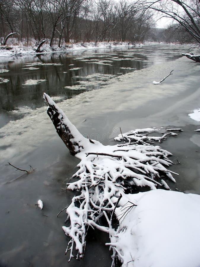 Kishwaukee-Fluss-Winter-Szene lizenzfreie stockfotografie