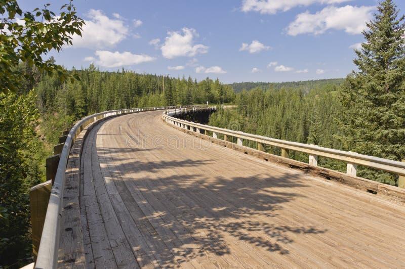 Kiskatinaw curved wooden bridge planking stock photo
