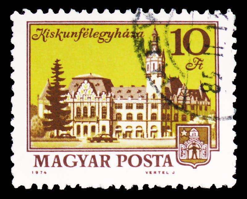 Kiskunfelegyhaza, εικονικές παραστάσεις πόλης serie, circa 1974 στοκ εικόνα με δικαίωμα ελεύθερης χρήσης