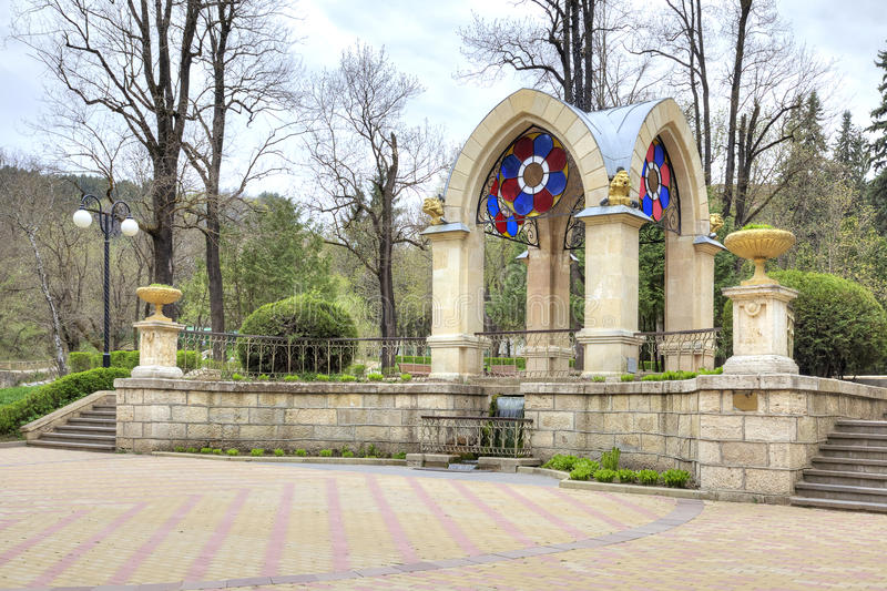 Kislovodsk. Glass Pavilion stream. Built in 1895-1896 years. Pavilion stream. The famous pavilion with an artificial waterfall in the park of the city of stock photography