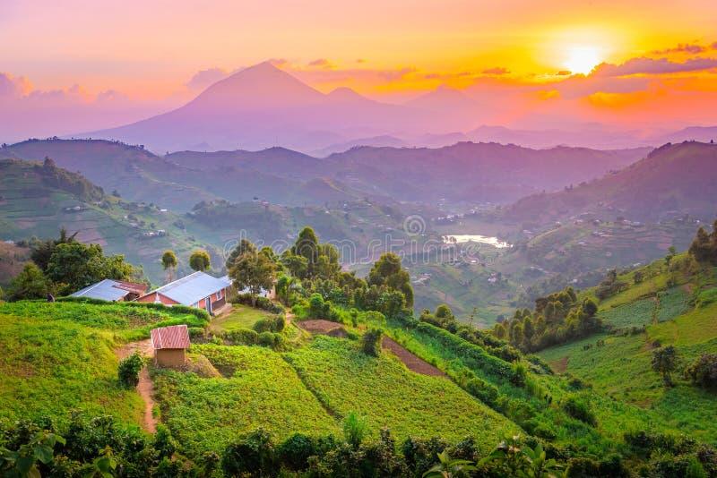 Kisoro Uganda härlig solnedgång över berg och kullar arkivbilder
