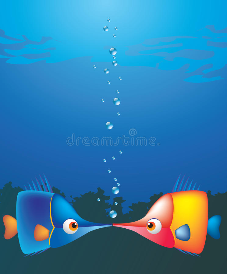 Download Kiss stock vector. Image of under, bubbles, lovers, fishes - 12097750