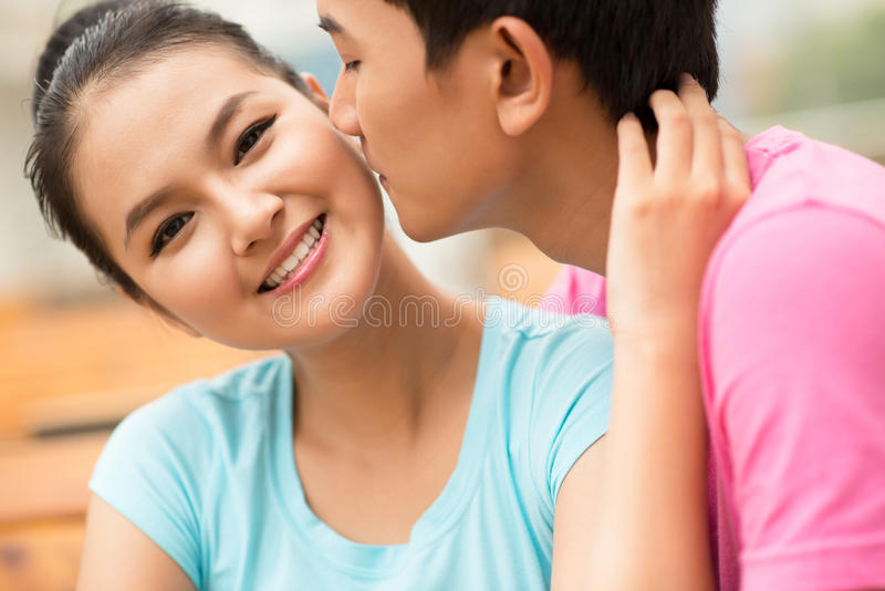 Almost kiss royalty free stock photo