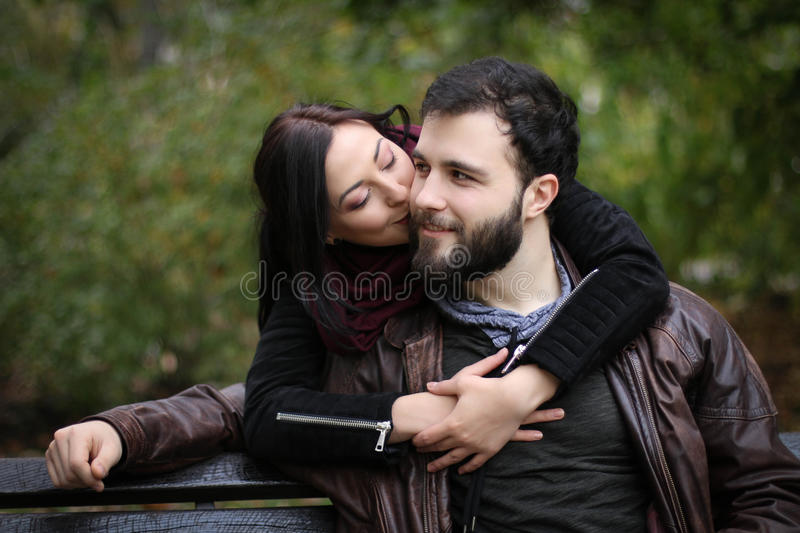 Kiss on the cheek stock images