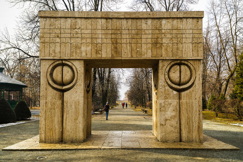 Kiss Gate artwork Constantin Brancusi in Romania. Kiss Gate artwork Constantin Brancusi in Targu Jiu Romania royalty free stock images