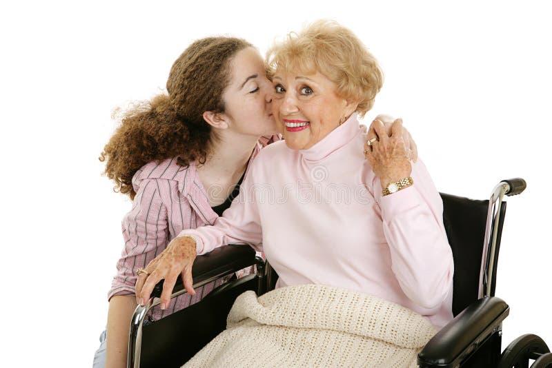 Kiss For Grandmother Stock Photos