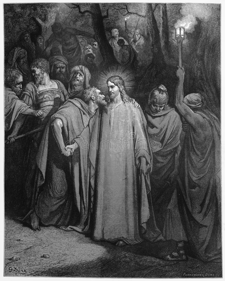 The Kiss of Judas. Picture from The Holy Scriptures, Old and New Testaments books collection published in 1885, Stuttgart-Germany. Drawings by Gustave Dore