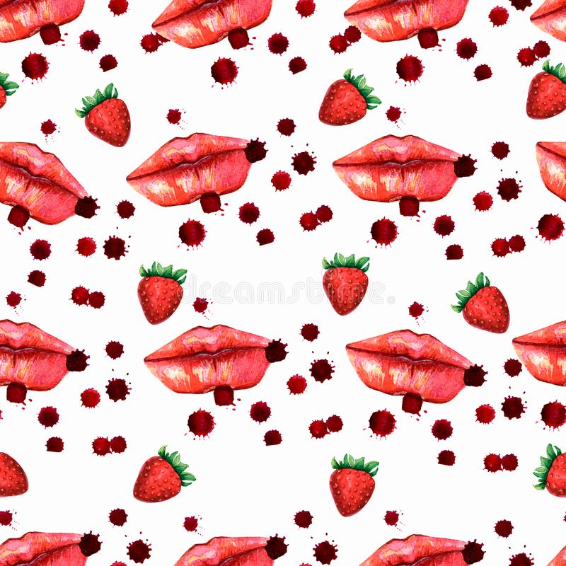 Kiss lips seamless pattern lover Valentine colorful love kiss red pink lip and strawberry pattern. Kiss lips seamless pattern lover Valentine colorful love kiss royalty free illustration