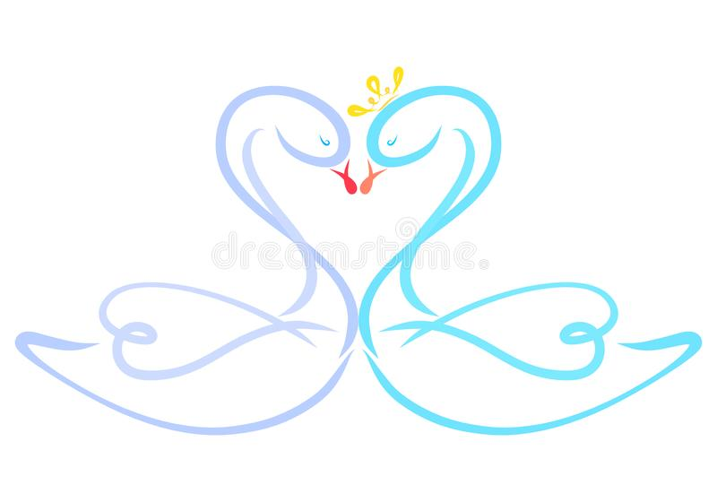 Kiss of loving swans, heart and romance.  vector illustration